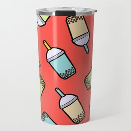 Bubble Tea Pattern in Red Travel Mug