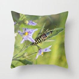grasshopper time Throw Pillow