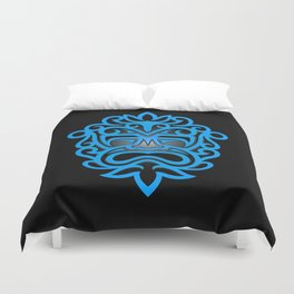 Stylish Blue and Black Mayan Mask Duvet Cover