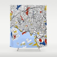 oslo Shower Curtains featuring Oslo mondrian by Mondrian Maps