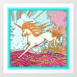 Mythical Unicorn Running in  Meadow Fantasy Art Art Print