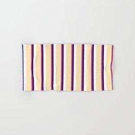 Eye-catching Cornflower Blue, Crimson, Dark Blue, White & Beige Colored Stripes/Lines Pattern Hand & Bath Towel