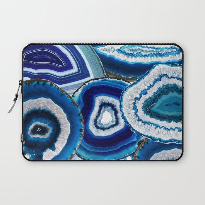 Agate Slices Art, Blue Agate, Mid Century Art, Gemstones Laptop Sleeve