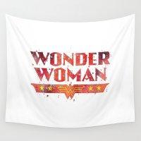 superhero Wall Tapestries featuring Wonder . Woman Superhero by Carma Zoe