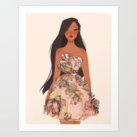 pocahontas Art Prints featuring Pocahontas by punziella