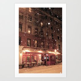 Cornelia St Cafe in the snow Art Print