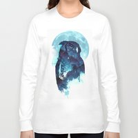 stars Long Sleeve T-shirts featuring Midnight Owl by Robert Farkas
