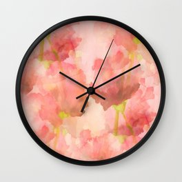 Delicate Pink Watercolor Floral Abtract Wall Clock