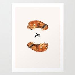 Sleeping foxes Art Print