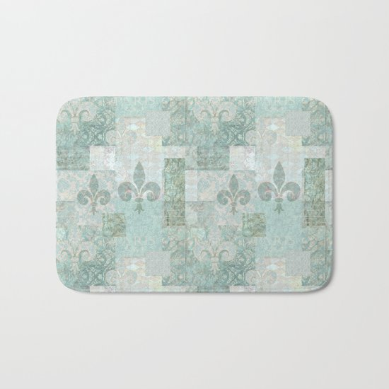 teal baroque vintage patchtwork Bath Mat