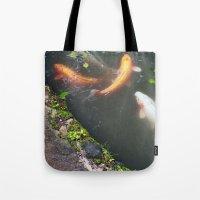 koi fish Tote Bags featuring Koi Fish by Elizabeth Boyajian