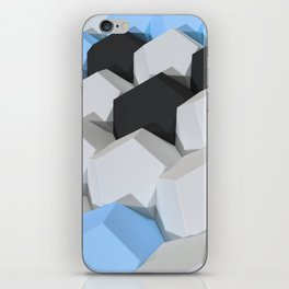 Pattern of white, blue and black hexagonal elements iPhone Skin