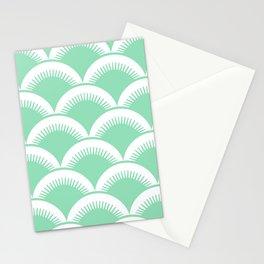 Japanese Fan Pattern Mint Green Stationery Cards