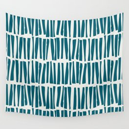 Turquoise Vertical Dash Stripe Line Pattern Sherwin Williams Trending Colors of 2019 Oceanside Dark Aqua Blue SW 6496 on Off White Wall Tapestry