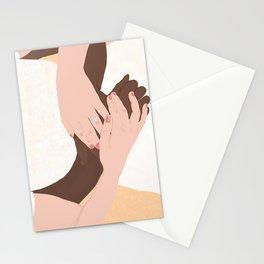 Hug, Interracial Couple Stationery Cards