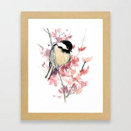 Chickadee and Cherry Blossom Framed Art Print