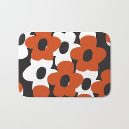 large orange and white retro flowers abstract composition Bath Mat