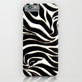 Elegant Black Gold Zebra White Animal Print iPhone Case