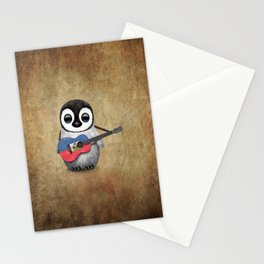 Baby Penguin Playing Haitian Flag Acoustic Guitar Stationery Cards