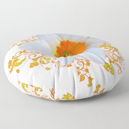 SPRING DAFFODIL SCROLLS ART GARDEN PATTERN Floor Pillow