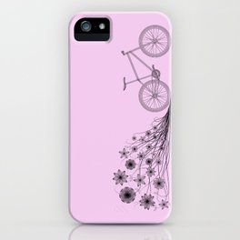 Cycling with flowers iPhone Case