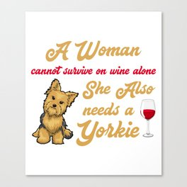 Cute T-Shirt For Wine And Yorkie Lover. Canvas Print