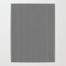 Classic Black and White Pinstripe Pattern Poster