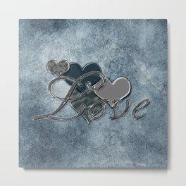 Silver Love Metal Print