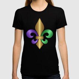 Purple Green and Gold Fleur-de-Lis on Gray Pattern T-shirt