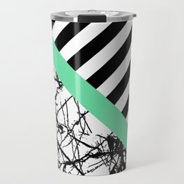 Stripes N Marble - Black and white geometric stripes and marble pattern, bold on green background Travel Mug
