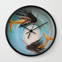 twins Wall Clocks featuring Twins by RokinRonda