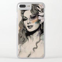 Edwige (street art sexy portrait of Edwige Fenech) Clear iPhone Case