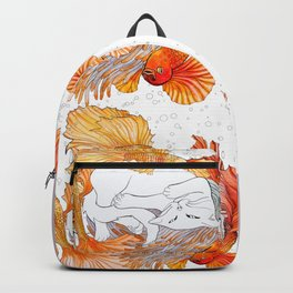 Cat and Golden Fishes Backpack