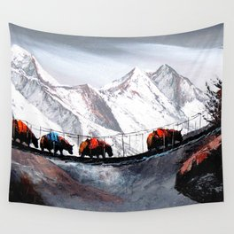 Herd Of Mountain Yaks Himalaya Wall Tapestry