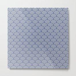 Navy Concentric Circle Pattern Metal Print