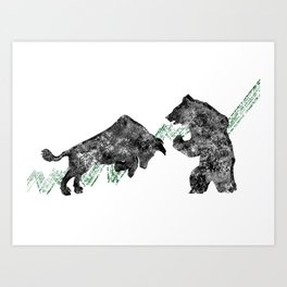 Bear vs. Bull #3 Art Print