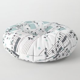 Collage Graphic Music Notes Floor Pillow
