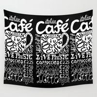 cafe Wall Tapestries featuring Italian Cafe by Geryes