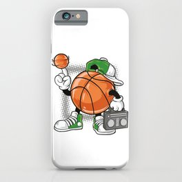 Acrobatic athlete with basketball and Ghetto Blaster iPhone Case