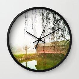 Foggy lake watercolor painting Wall Clock