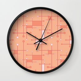 Intersecting Lines in Peach and Pink Wall Clock
