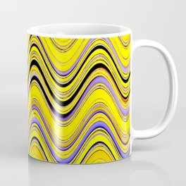 yellow purple blue wavy striped pattern Coffee Mug