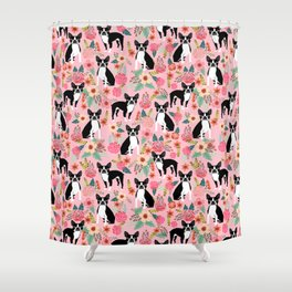 Boston Terrier floral black and white coat essential gifts for boston terriers owners florals Shower Curtain