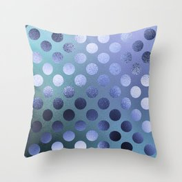 Minimalist Circle Pattern in Iridescent Blue 25 Throw Pillow