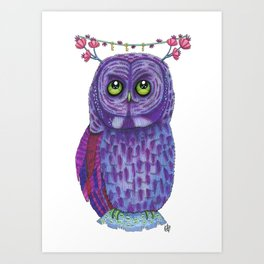 The Great Gray Purple Owl, A Key Holder And Protector Of The Mice Kingdom Art Print