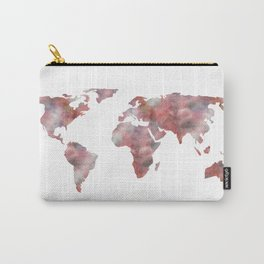 World Map in City Mod Red Slate Carry-All Pouch