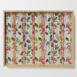Wild Flowers on Stripes Serving Tray