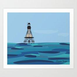 Fowey Rocks Lighthouse Art Print