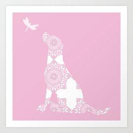 Labrador Dog on pink with dragon fly Art Print