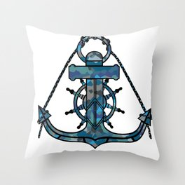 Anchor and Steering Helm [Multicolored 2] Throw Pillow